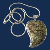 925 Sterling Silver Moss Agate Large Leaf Pendant Necklace