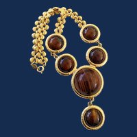 Signed Accessocraft Gold Tone Large Brown Bead Bib Style Necklace