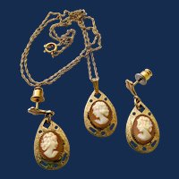 14k 1/20 Gold Filled Cameo Pendant And Earrings Jewelry Set