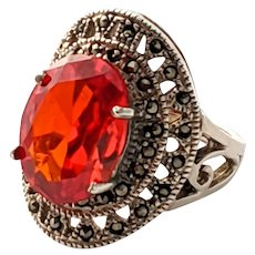 Art Deco 925 Sterling Silver Red Faceted Glass Stone Statement Ring