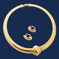 Signed Avon Gold Tone Rhinestone And Earrings Jewelry Set