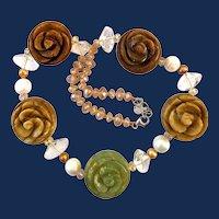Sterling Silver Nephrite Jade Carved Floral Necklace