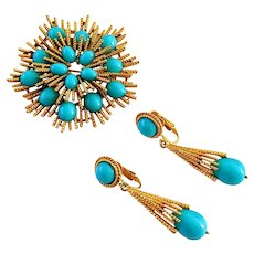 Vintage Avon Turquoise Thermostat Brooch And Earrings Set