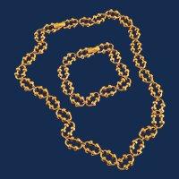 1970s Avon Gold Tone Fancy Link Chain Necklace Bracelet Set
