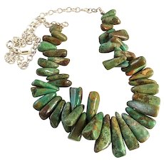Barse Sterling Silver Turquoise Nugget Bead Necklace