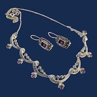 Renaissance Revival Style Sterling Silver Purple Stone Necklace Set