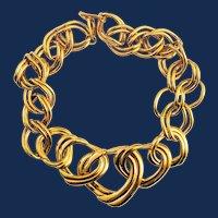 Napier Gold Tone Large Double Link  Chain Necklace
