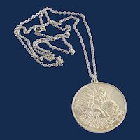 925 Sterling Silver Round Coin Style Pendant Necklace