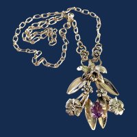 Sterling Silver Purple Stone Orchid Pendant Necklace