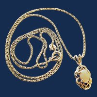 Sterling Silver Oval Opal Pendant Necklace