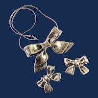 1960s Bat Ami 925 Electroform Bow Pendant Necklace Set