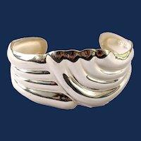 Vintage Mexico Sterling Silver Wide Cuff Bangle Bracelet
