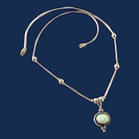 Southwestern Style Sterling Silver Opal Pendant Necklace