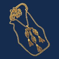 Crown Trifari Gold Tone Asian Inspired Pendant Necklace