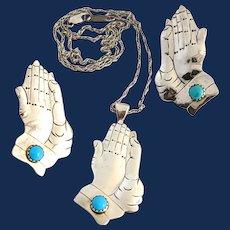 Southwestern Style Sterling Silver Large Pendant Necklace Set