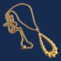 Monet Large Gold Tone Pendant Necklace