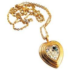 Gold Tone Swarovski Crystal Heart Pendant Necklace