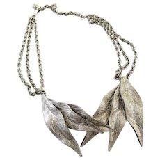 Vintage Silver Tone Metal Leaves Choker Necklace