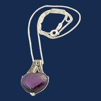 Sterling Silver Marcasite Purple Glass Cabochon Pendant Necklace