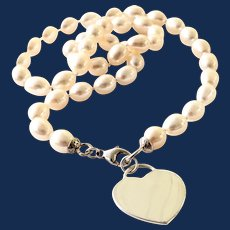 Sterling Silver Toggle Heart Tag Pearl Necklace