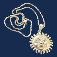 925 Mexico Sterling Silver Celestial Sun Face Pendant Necklace