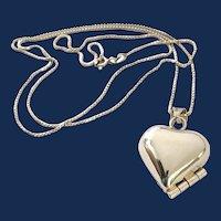 Sterling Silver Cupid Heart Locket Pendant Necklace
