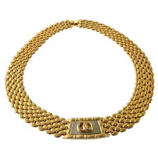 Gold Tone Medallion Panther Style Choker Necklace