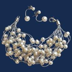 Multistrand White Pearl Waterfall Bracelet