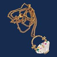 Signed Swarovski Crystal Flower Basket Pendant Necklace