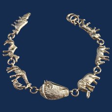 Sterling Silver Noahs Ark Bible Story Charm Bracelet