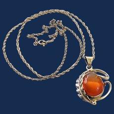 Sterling Silver Leaf Orange Art Glass Pendant Necklace