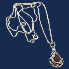 Sterling Silver Garnet Teardrop Shaped Pendant Necklace