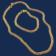 Gold Tone Monet Necklace Bracelet Set