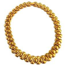Signed Napier Gold Tone Panel Choker Necklace