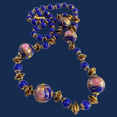 Blue Wedding Cake Long Glass Beaded Necklace