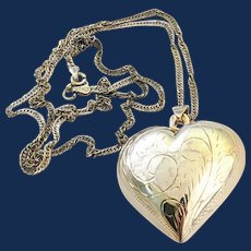 925 Mexico Sterling Silver Puffy Heart Pendant Necklace