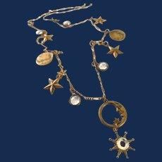 Designer Glass Works Studio Celestial Theme Brass Charm Necklace