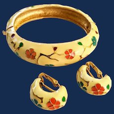 Cloisonne Bracelet And Earrings Floral Jewelry Set