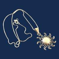 925 Mexico Sterling Silver Sun Pendant Necklace