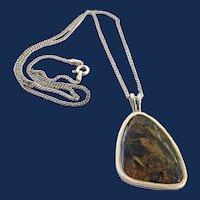 Vintage Sterling Silver Polished Agate Gemstone Pendant Necklace