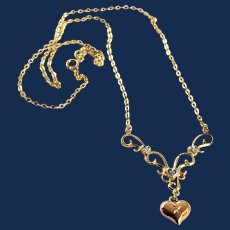 Gold Tone Sterling Silver Small Puffy Heart Pendant Necklace