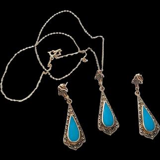 Sterling Silver Faux Turquoise Drop Pendant Necklace Set