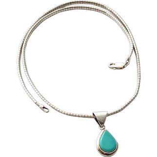 925 Sterling Silver Turquoise Teardrop Pendant Necklace