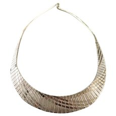 925 Sterling Silver Wide Fringed Choker Necklace