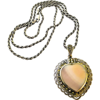 Sterling Silver Mother OF Pearl Marcasite Heart Pendant Necklace