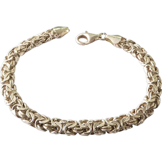 Ladies Or Mens Sterling Silver Byzantine Link Chain Bracelet