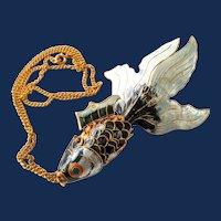 Chinese Enamel Jointed Koi Fish Pendant Necklace