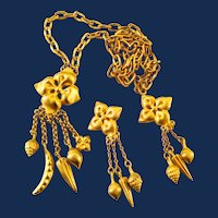 Brushed Gold Tone Vegetable Charm Pendant Necklace And Earrings Set
