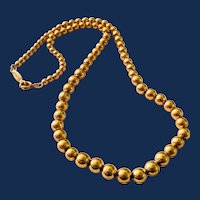 Signed Napier Short Small Gold Tone Bead Necklace