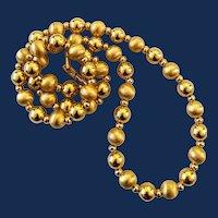 Signed Napier Long Length Gold Tone Bead Necklace